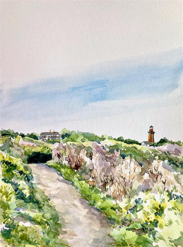"""Beach Path View, Aquinnah Light"" original fine art by Judith Freeman Clark"