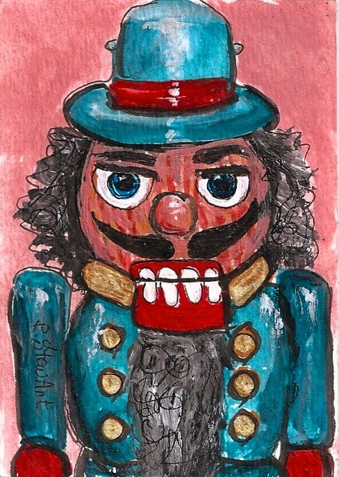 """ACEO Nutcracker Painting 202 Turquoise Red Christmas Original SFA Penny StewArt"" original fine art by Penny Lee StewArt"