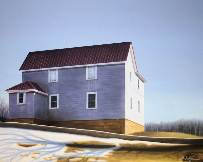"""""""House on the Edge of Town"""" original fine art by Fred Schollmeyer"""