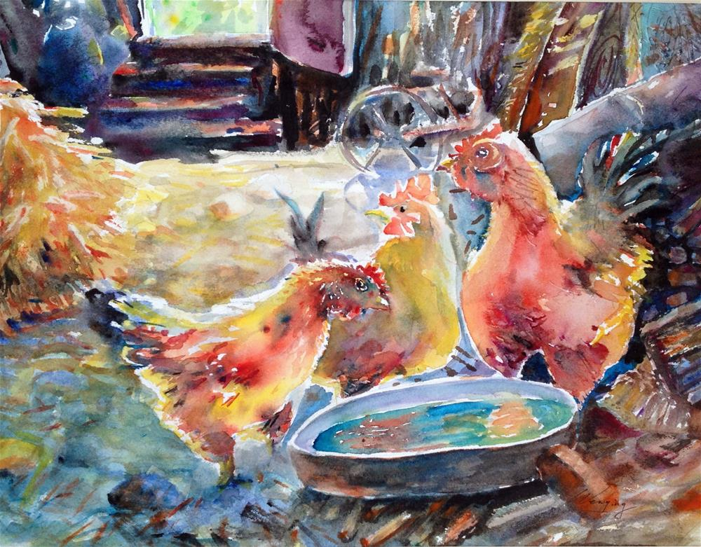 """What's for dinner?"" original fine art by Wenqing Xu"