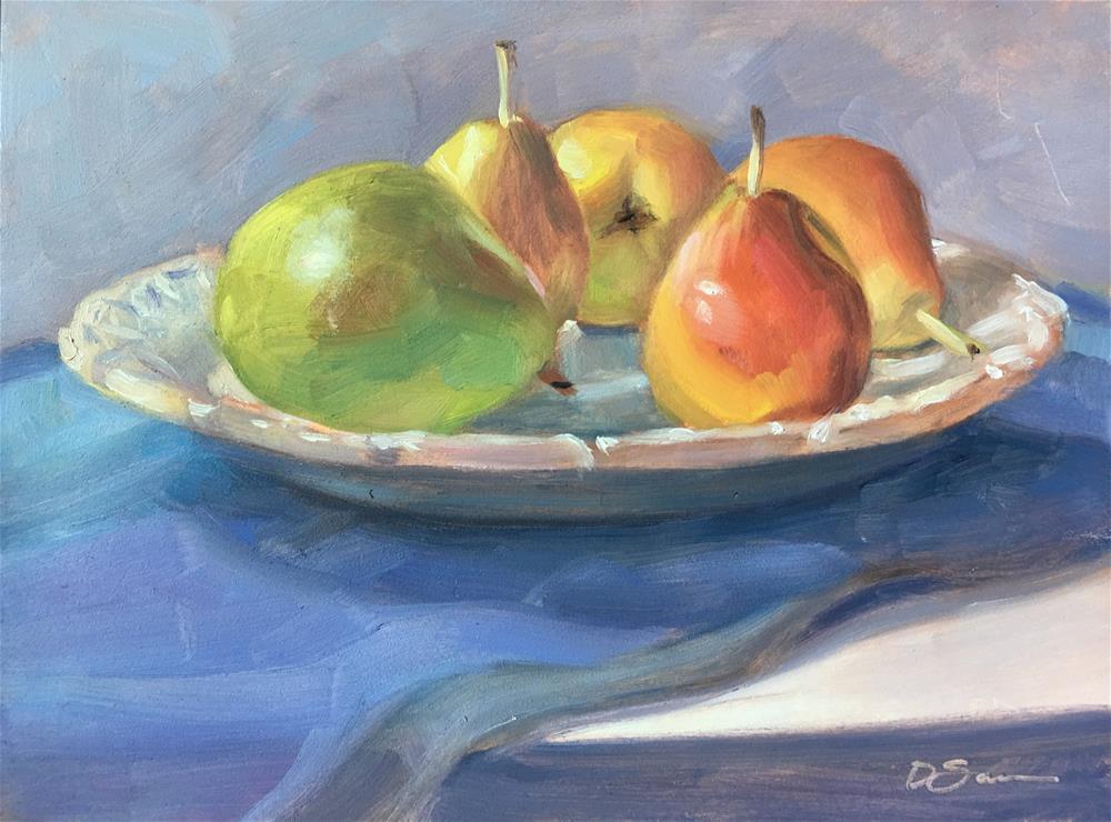"""Big and Little Pears"" original fine art by Deborah Savo"