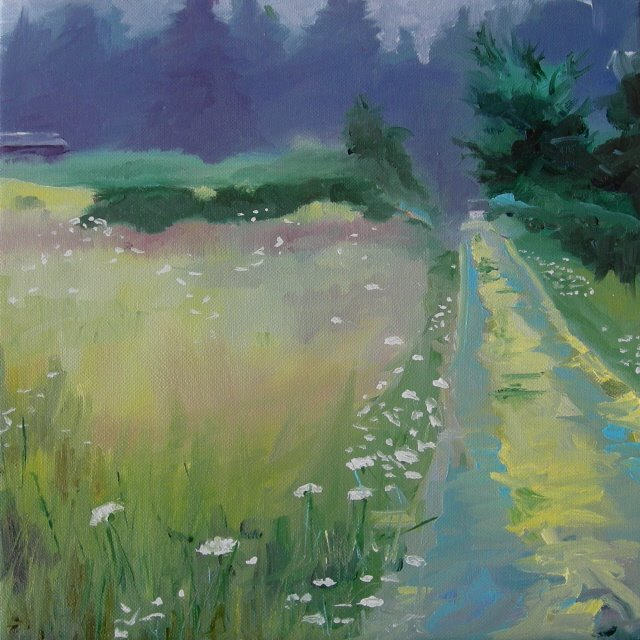 """""""Misty Morning at Moms  oil painting"""" original fine art by Robin Weiss"""