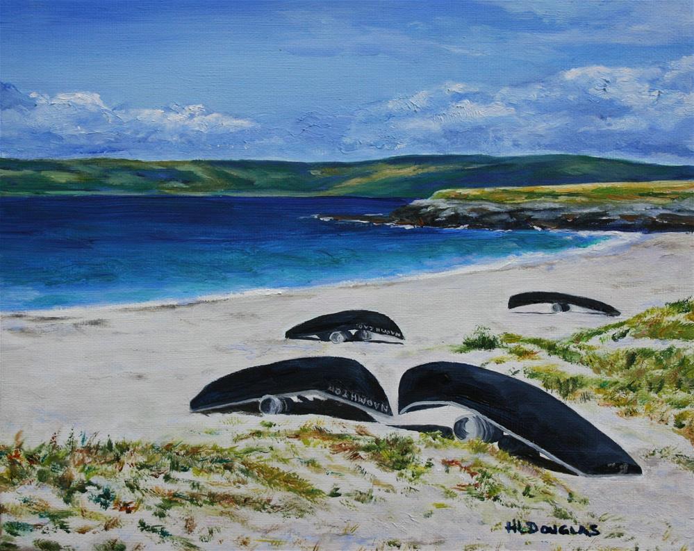 """Currachs on Inisheer"" original fine art by Heather Douglas"
