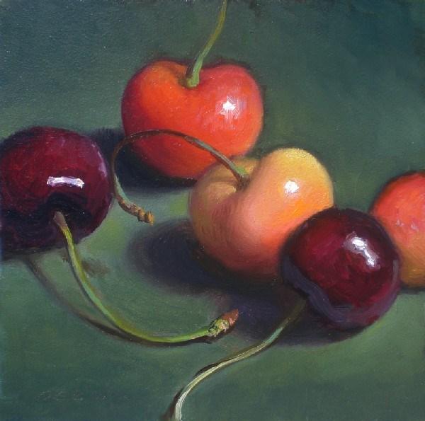 """Five Cherries"" original fine art by Debra Becks Cooper"