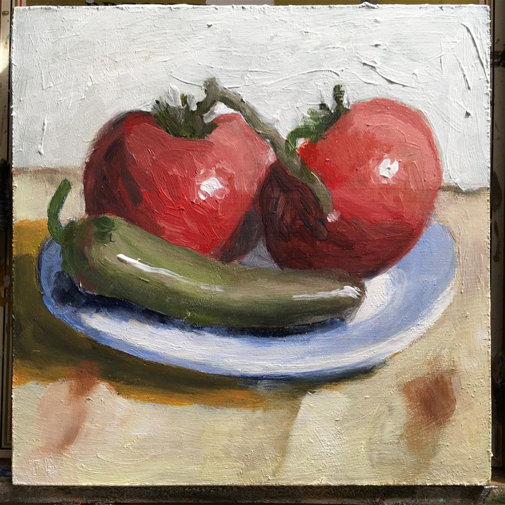"""""""240Tomato and Jalapeno """" original fine art by Fred Bell"""