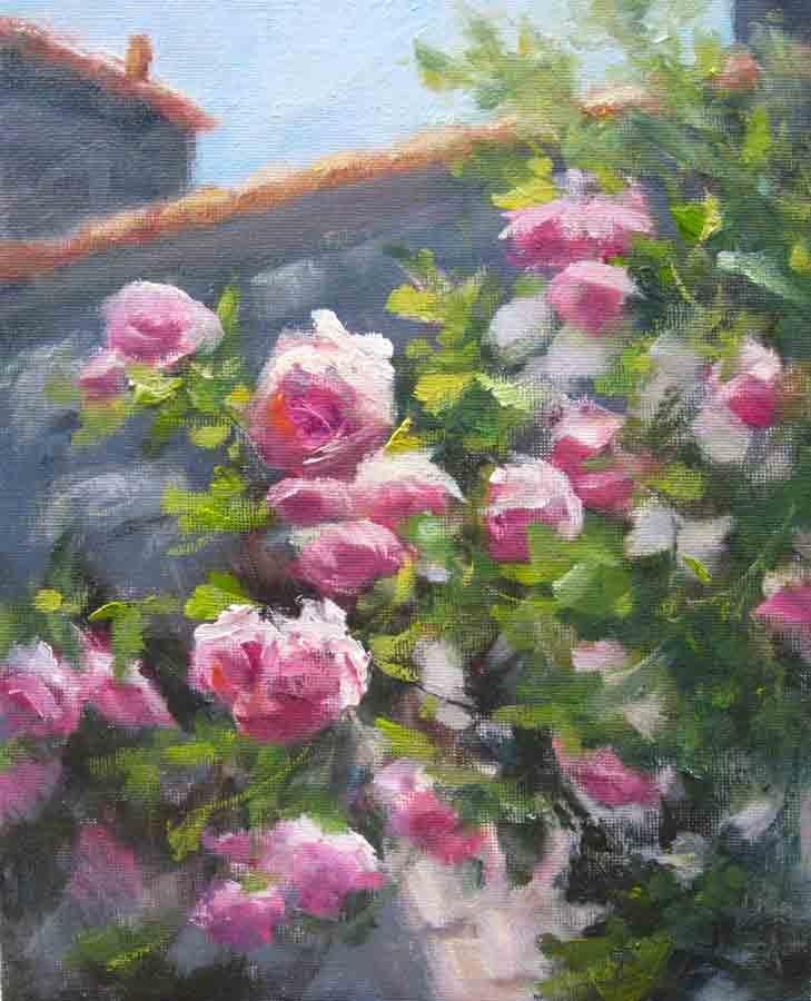 """Climbing Roses- Left"" original fine art by Pat Fiorello"