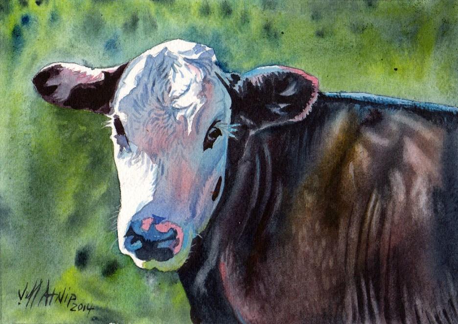 """A Nice Cow"" original fine art by Jeff Atnip"
