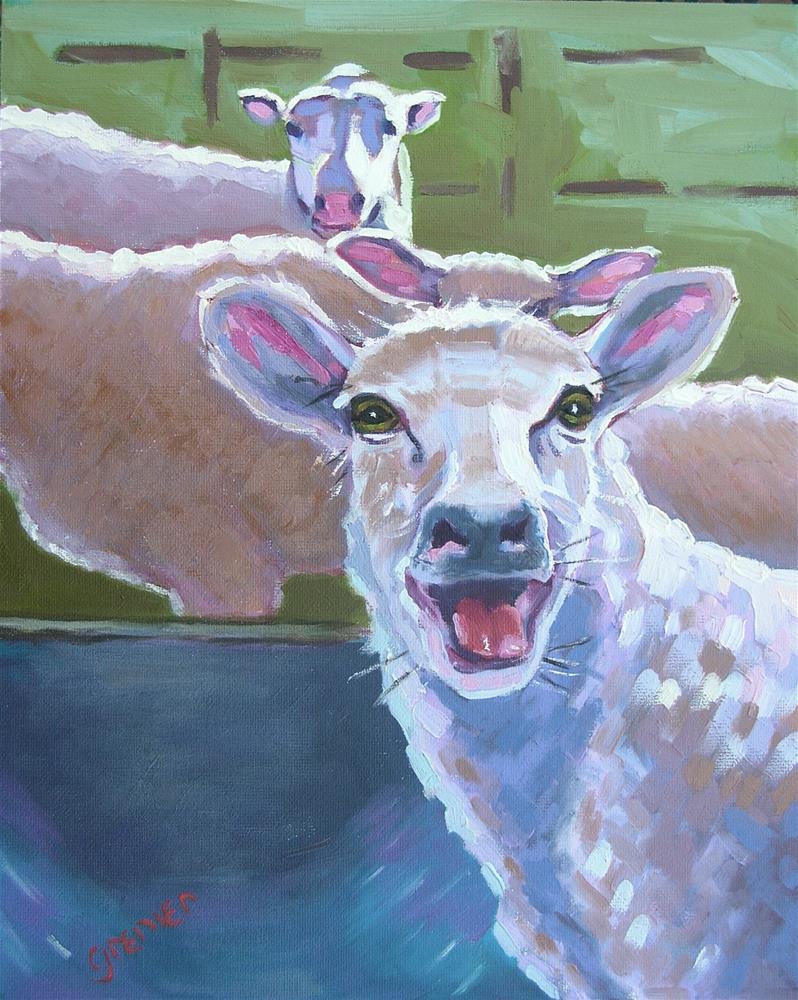 """Original Oil Crying Sheep sign Jean Grenier"" original fine art by jean grenier"
