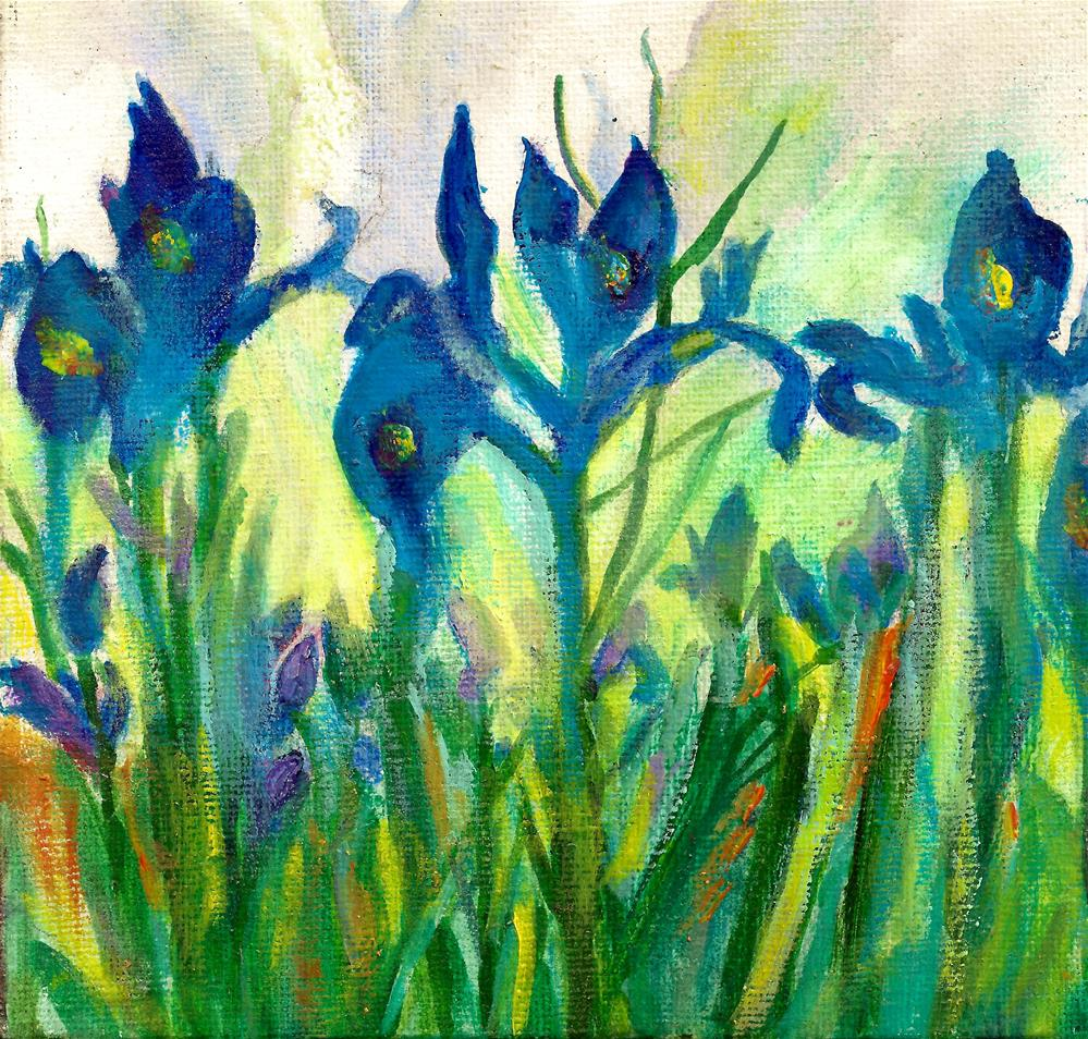 """Meadow Blue Iris"" original fine art by Elizabeth Current"