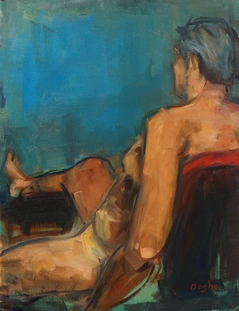 """""""Man on Red Chair"""" original fine art by Angela Ooghe"""
