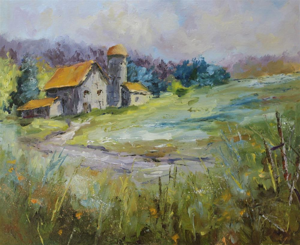 """Original barn country rural oil landscape painting"" original fine art by Alice Harpel"