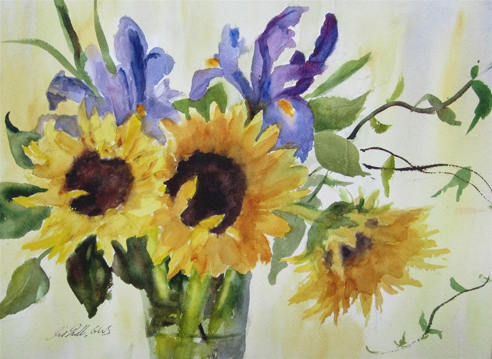 """""""Painting Flowers in Watercolor: Sunflowers and Irises"""" original fine art by Pat Fiorello"""