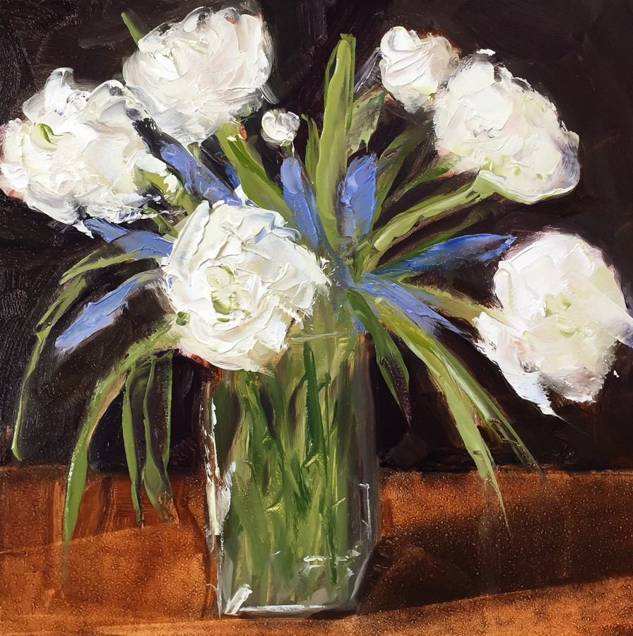 """#126 - Ranunculus and Hyacinths"" original fine art by Sara Gray"