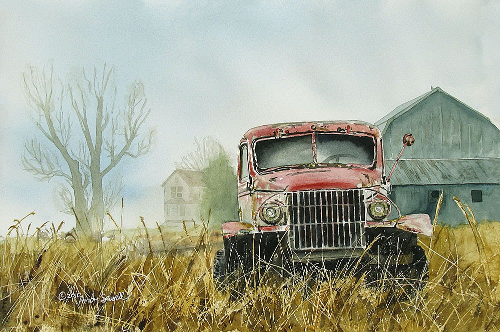 """""""Chevy in the Pink"""" original fine art by Andy Sewell"""
