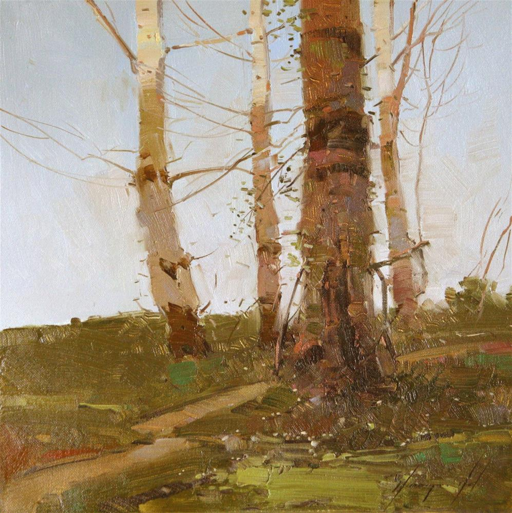 """""""BIRCHES TREES TONALISM ORIGINAL OIL PAINTING ONE OF A KIND"""" original fine art by V Y"""