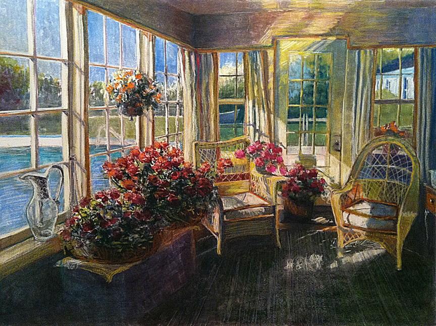 """Monotype & Pastel: Winter Geraniums"" original fine art by Belinda Del Pesco"