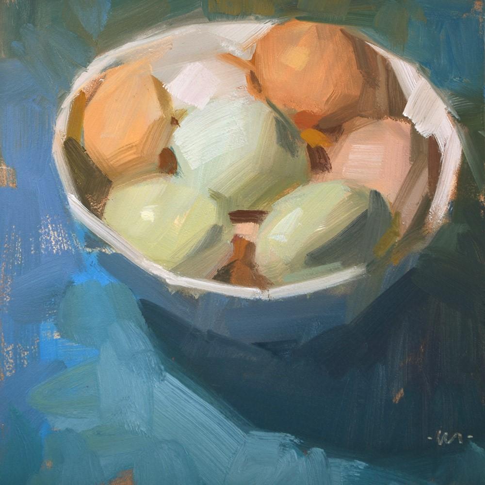 """Top Lit Eggs"" original fine art by Carol Marine"