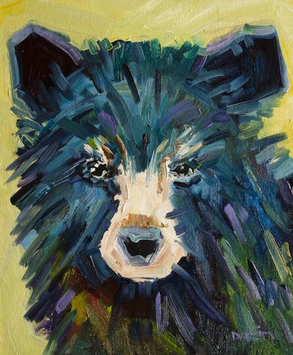 """""""ARTOUTWEST Diane Whitehead Wildlife animal art Black Bear two"""" original fine art by Diane Whitehead"""