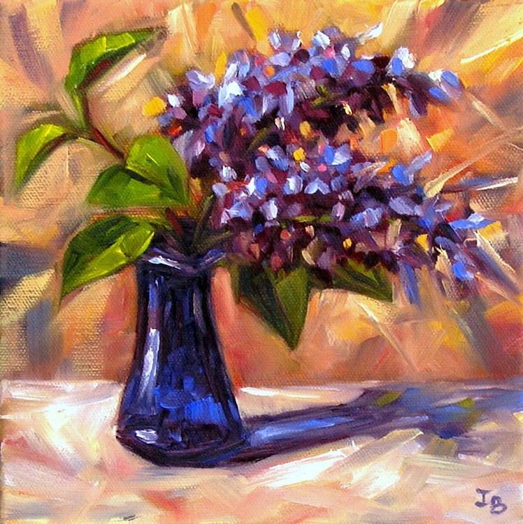 """""""Lilac in a Blue Vase"""" original fine art by Irina Beskina"""
