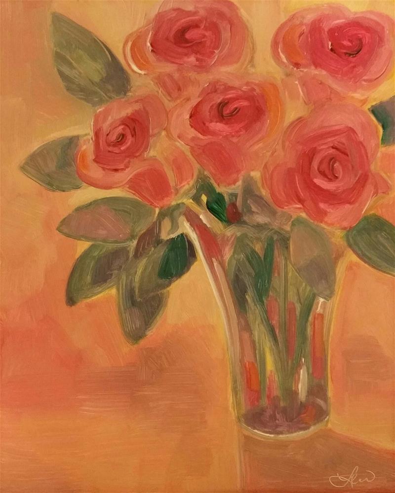 """Pink Roses"" original fine art by Leni Tarleton"