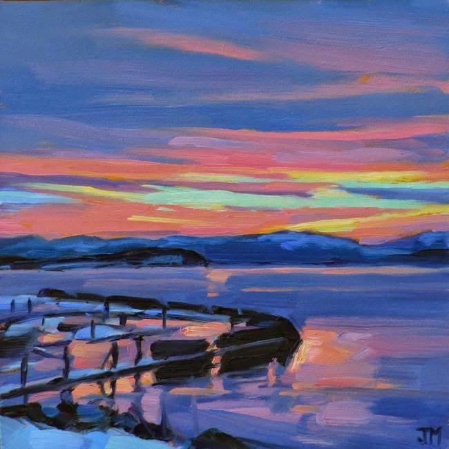"""""""Hudson Sunset"""" original fine art by Jessica Miller"""