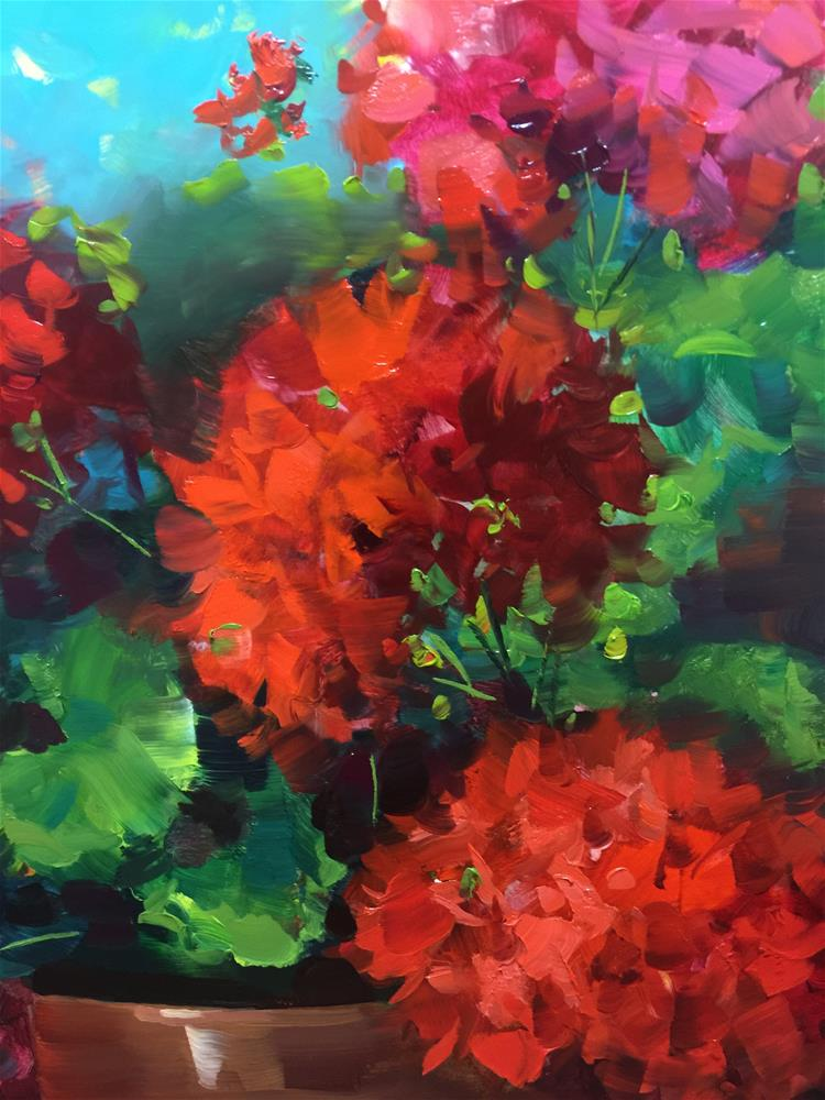 """Geraniums Step by Step - Bloom and Grow Geraniums"" original fine art by Nancy Medina"