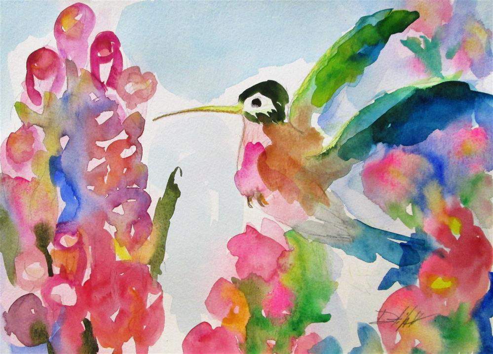 """""""Hummingbird and Pink Flowers"""" original fine art by Delilah Smith"""