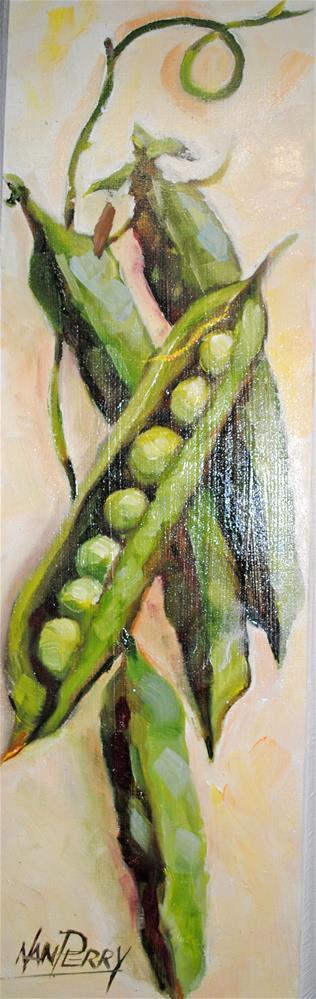 """Just Peas 5x15 "" original fine art by Nan Perry"