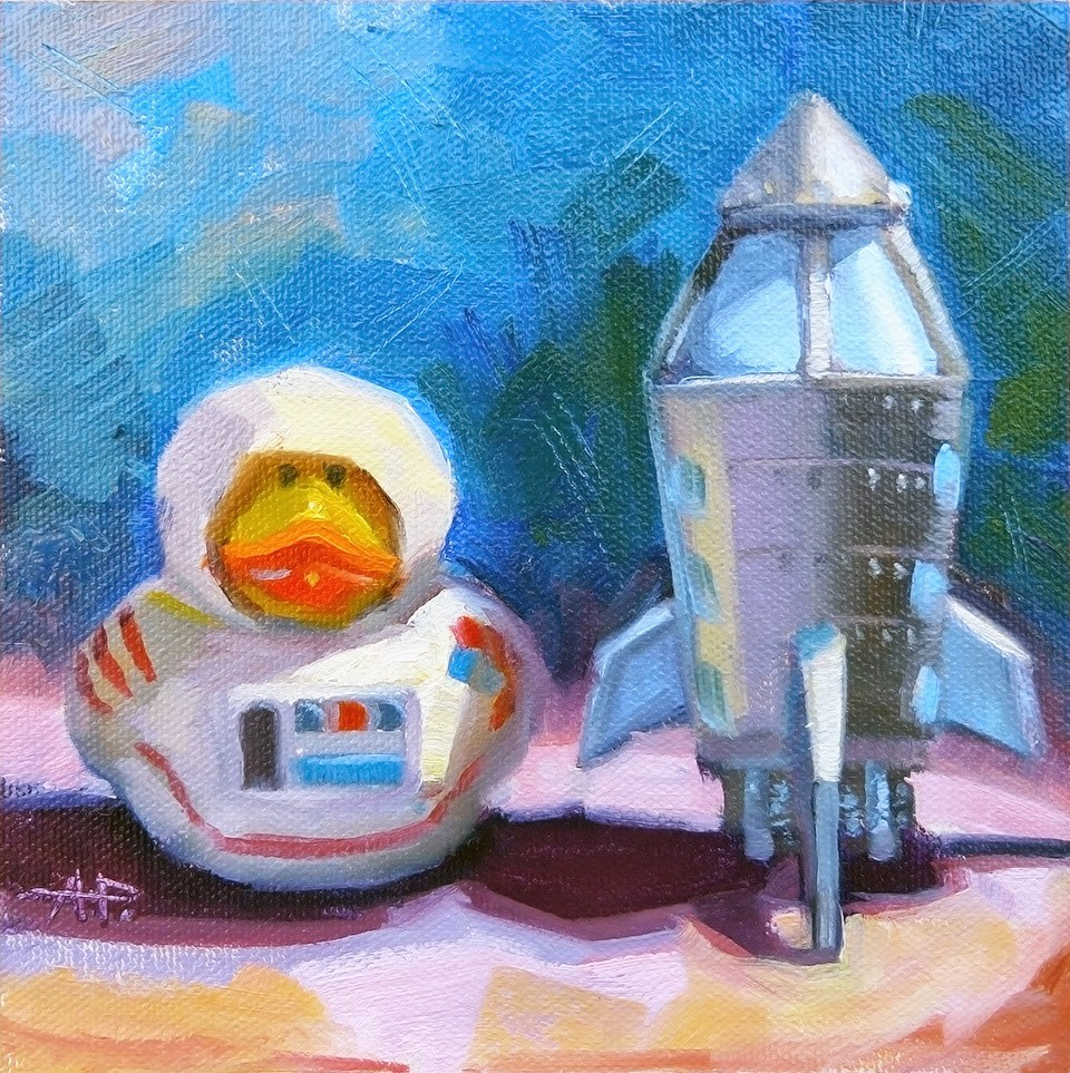 """""""Duck out of Water"""" original fine art by Anette Power"""