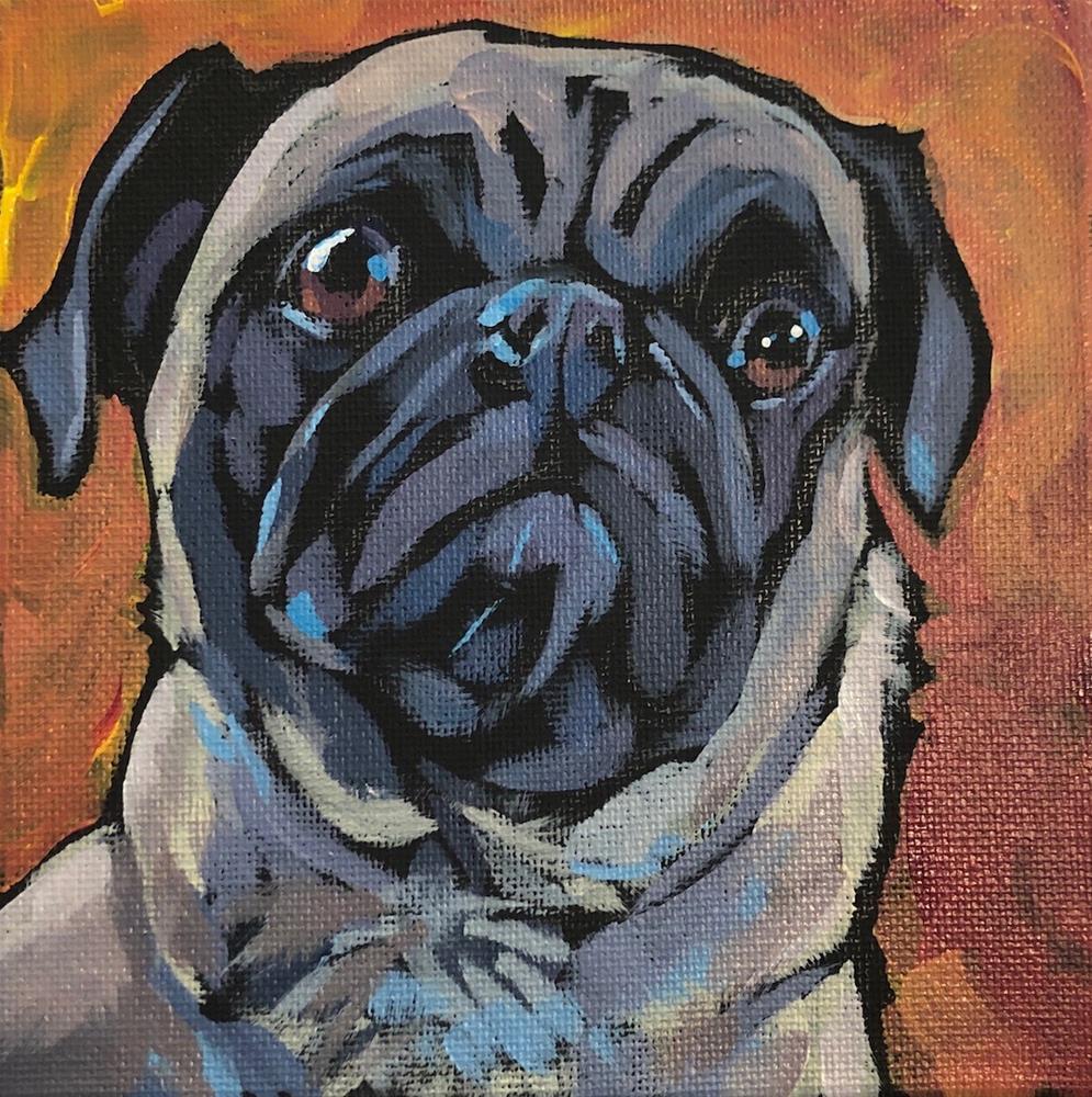 """Pug View #2"" original fine art by Kat Corrigan"