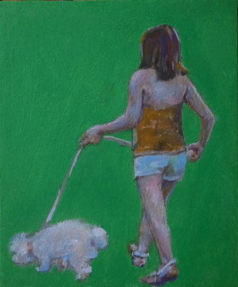 """Walking a dog"" original fine art by Maria Z."