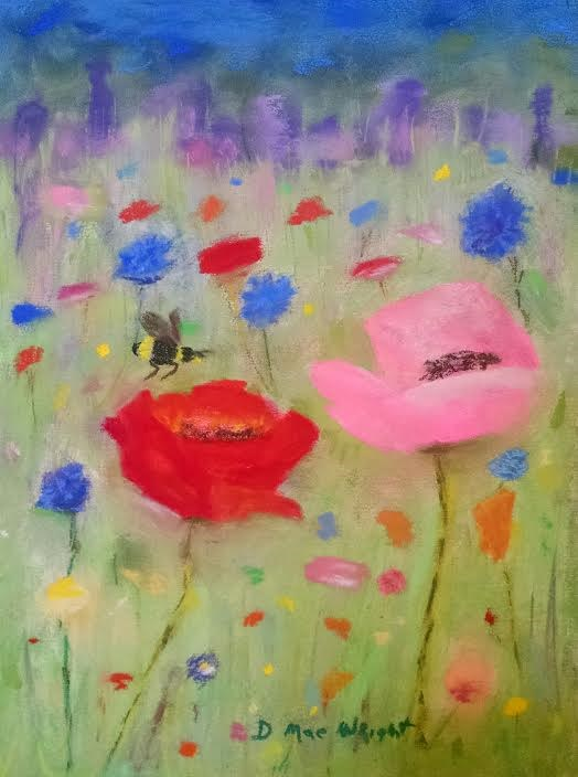 """""""Red and Pink Poppies"""" original fine art by D Mae Wright"""