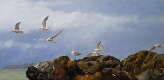 """""""Deception Pass update, marine oil painting, seagulls"""" original fine art by Robin Weiss"""