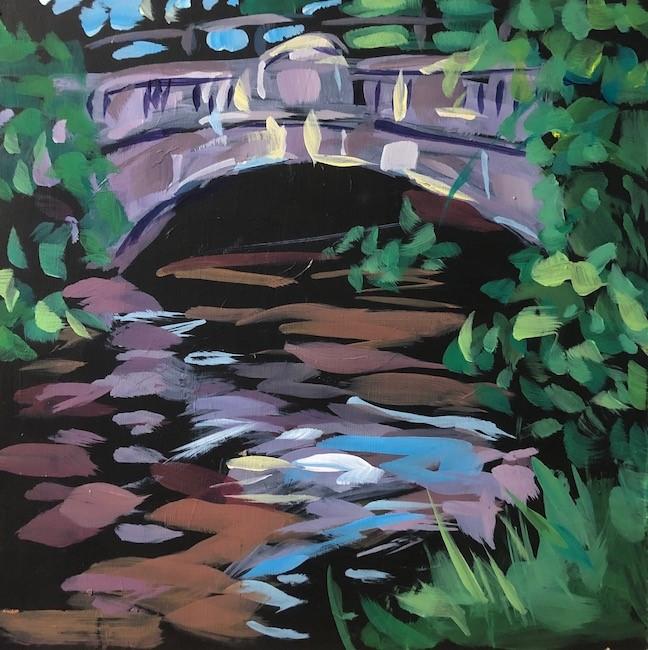 """""""Bridge Over the Creek"""" original fine art by Kat Corrigan"""