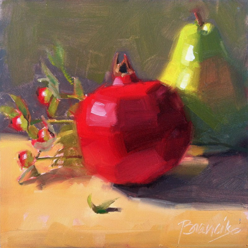 """Pear & Pomegranate"" original fine art by Candace Brancik"
