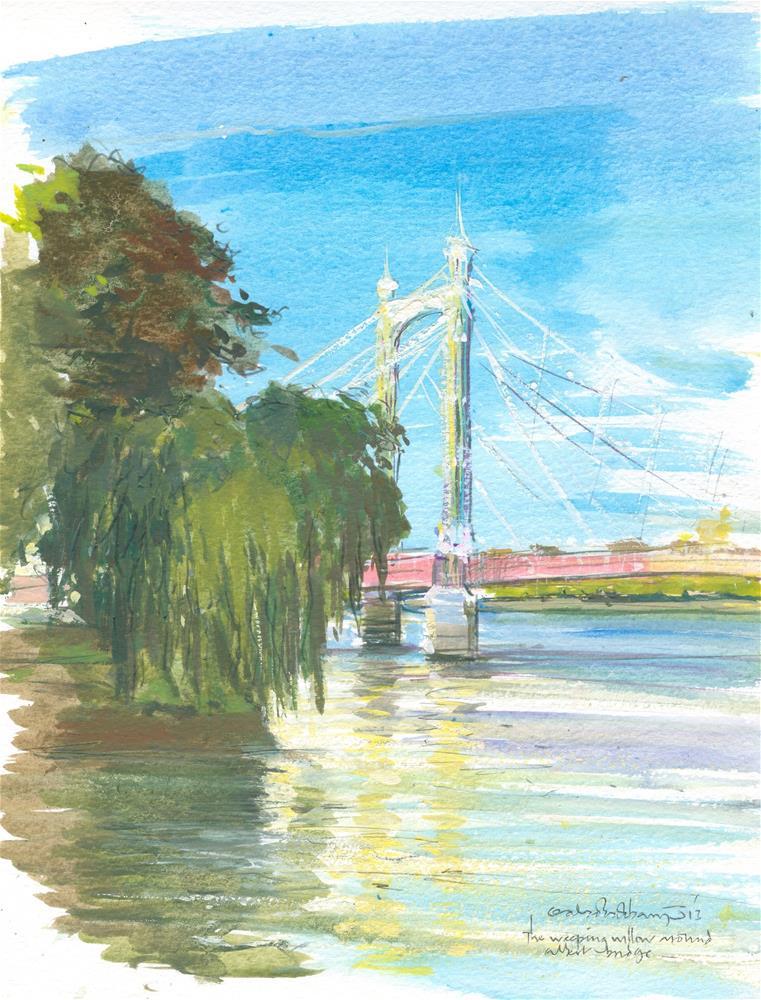"""The weeping Willow near albert Bridge"" original fine art by Adebanji Alade"