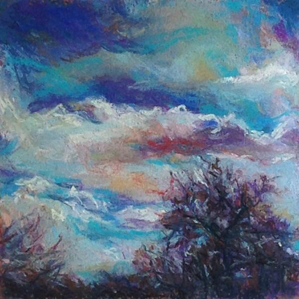 """BLUE + TREE - 6 x 6 sky pastel by Susan Roden"" original fine art by Susan Roden"