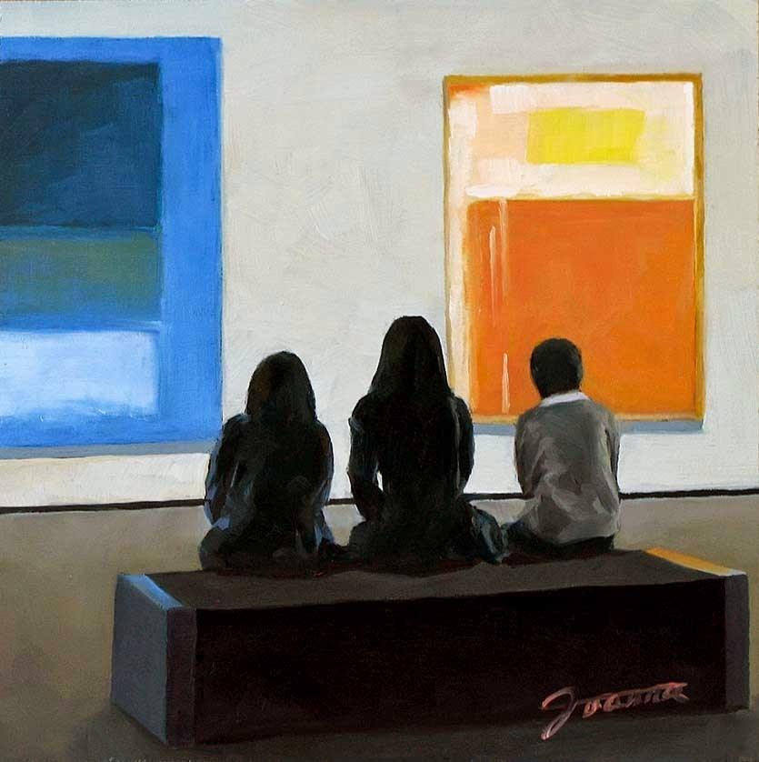 """""""Abstracting-Painting People in Art Gallery Series"""" original fine art by Joanna Bingham"""