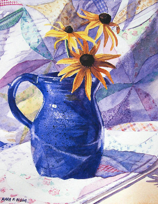 """Black-eyed Susans"" original fine art by Kara K. Bigda"