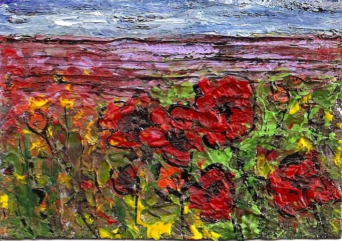 """ACEO Abstract Poppy Field Expressioistic Acrylic Impasto OOAK SFA Penny StewArt"" original fine art by Penny Lee StewArt"