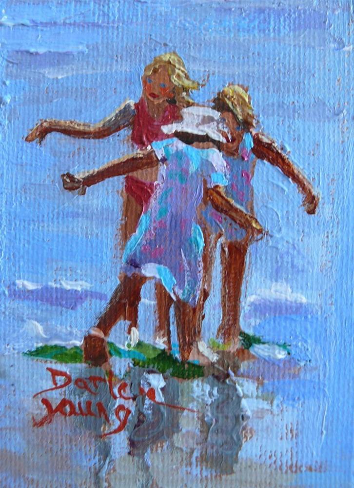 """868 Beach Fairies, oil on board, 2.5 x 3.5"" original fine art by Darlene Young"