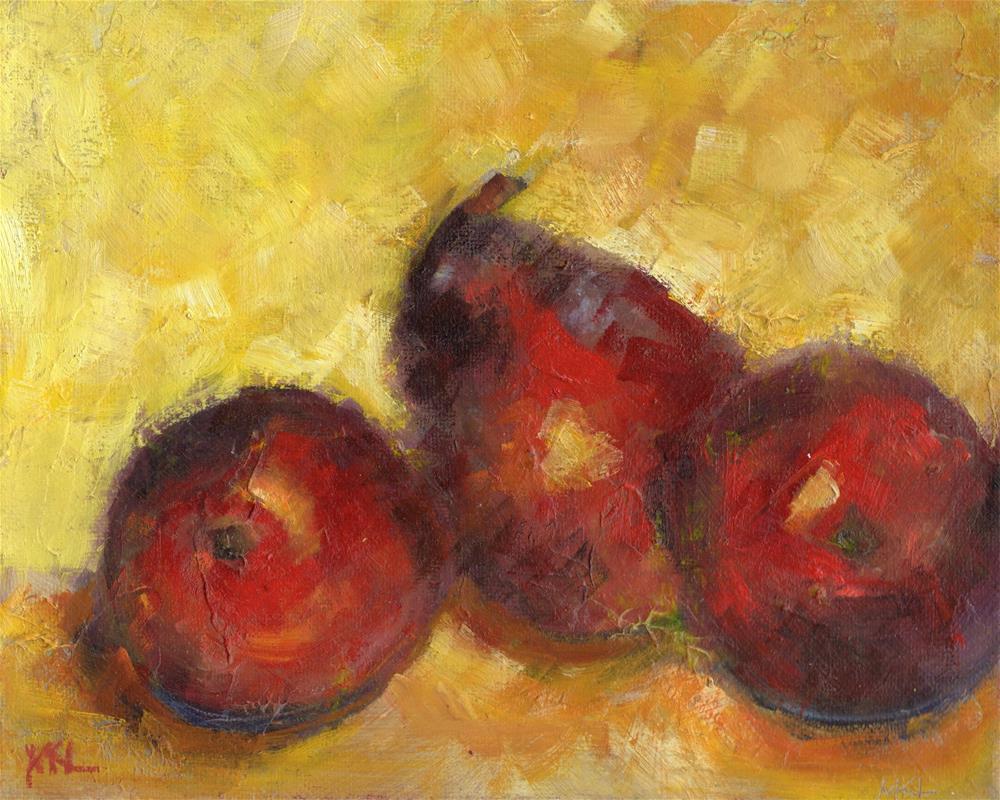 """Three Red Pears"" original fine art by Marlene Lee"