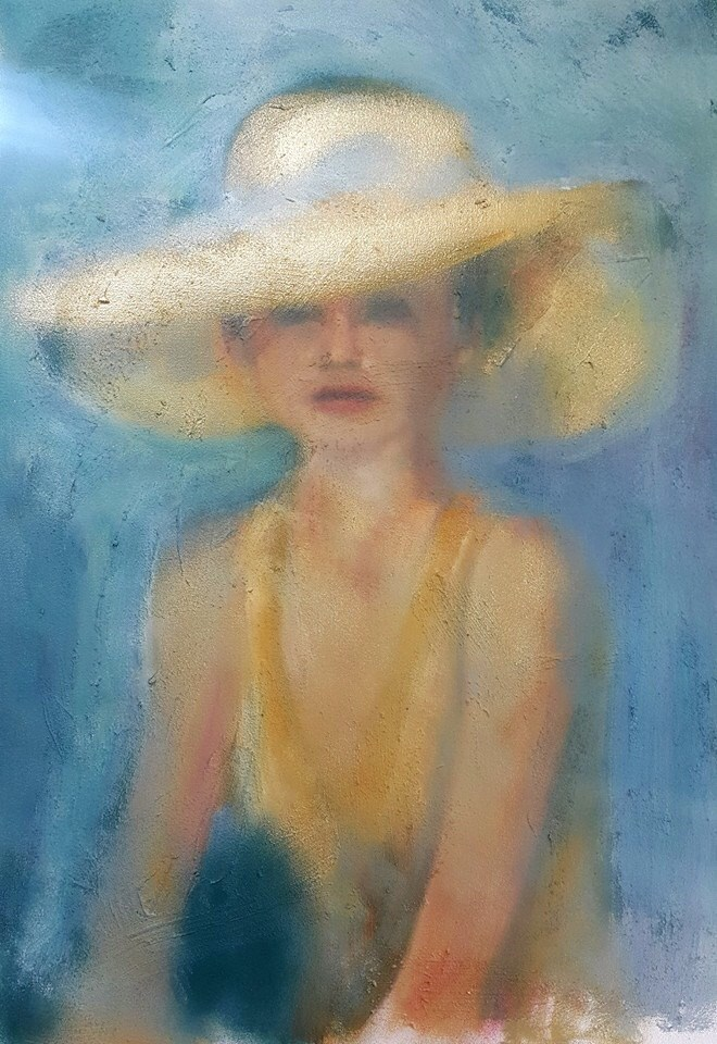"""Girl with the golden hat"" original fine art by Rentia Coetzee"