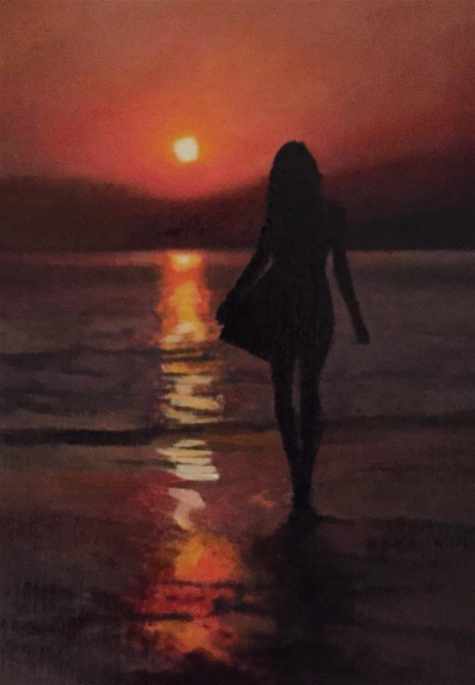 """Lady At Sunset"" original fine art by John Cameron"