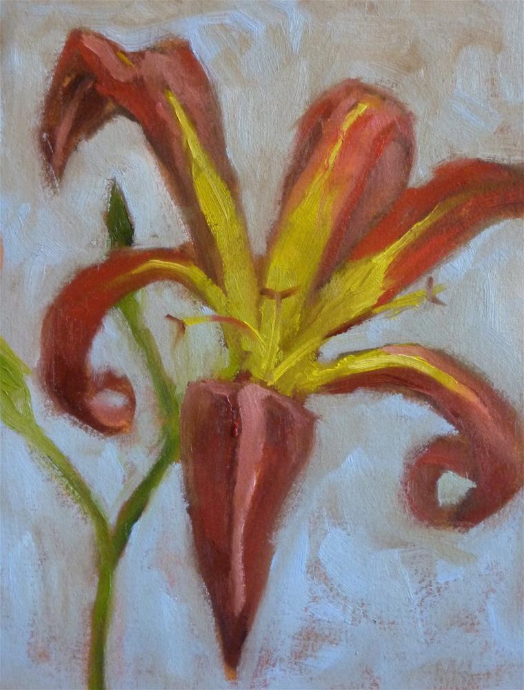 """""""Tiger Lily on Blue"""" original fine art by Marlene Lee"""