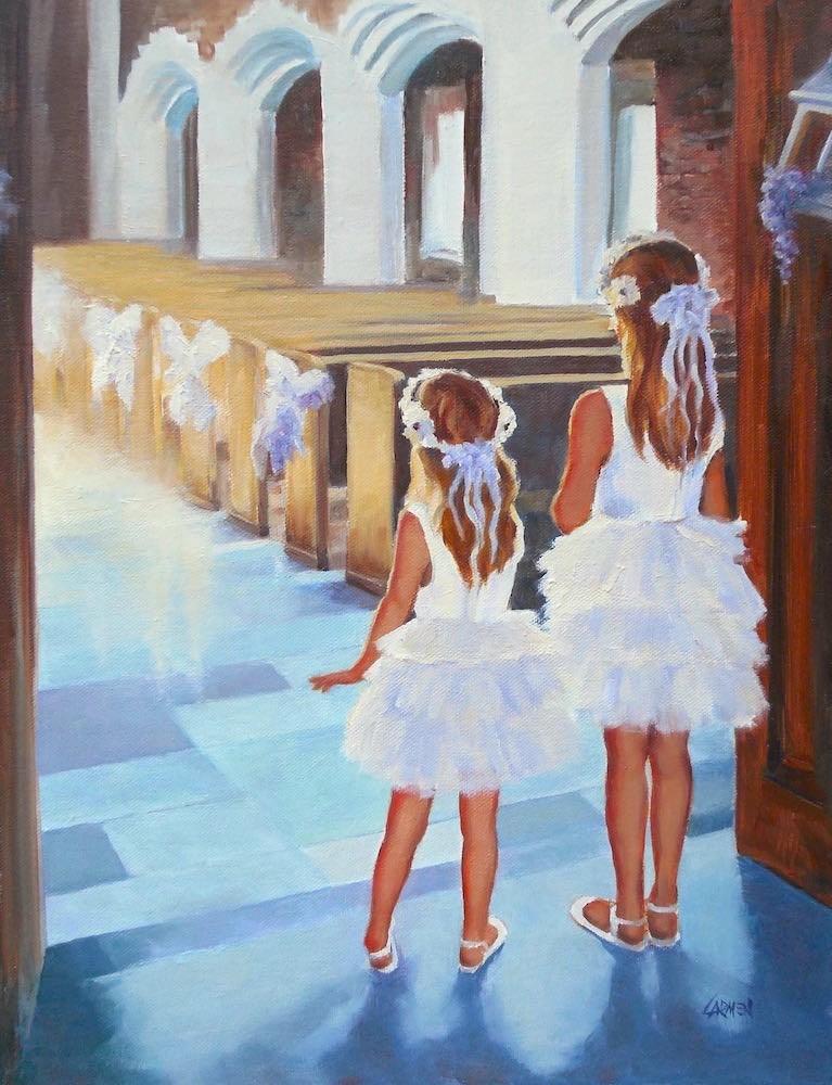 """""""Flower Girls, 11x14 Original Oil on Canvas"""" original fine art by Carmen Beecher"""