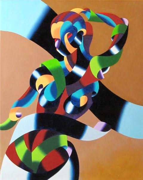 """""""Mark Webster - Abstract Geometric Futurist Figurative Oil Painting"""" original fine art by Mark Webster"""