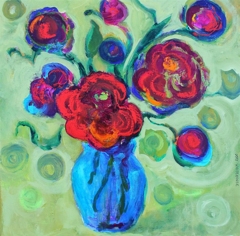 """Van Gogh Flowers, Abstract Floral Paintings by Arizona Artist Amy Whitehouse"" original fine art by Amy Whitehouse"