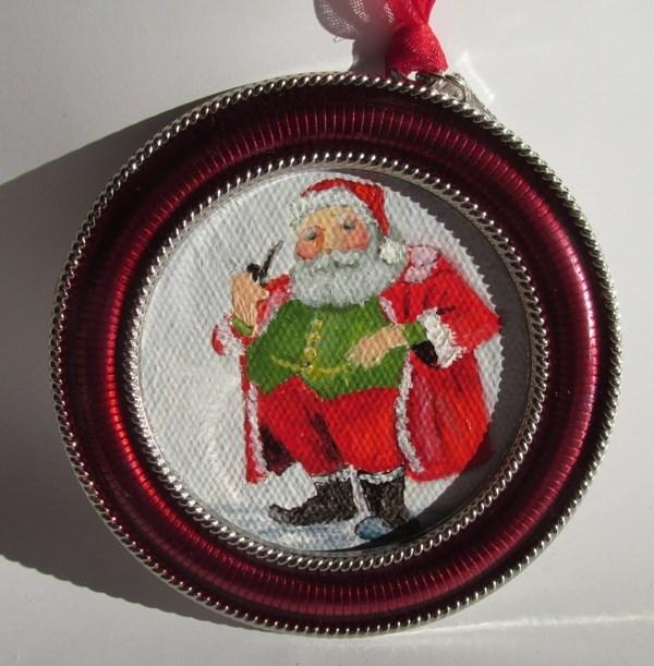 """Mr. Claus Ornament"" original fine art by Ruth Stewart"