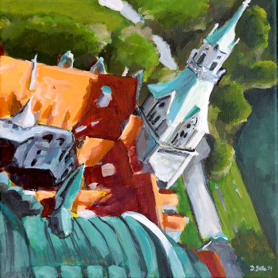 """1018 View from the Tower"" original fine art by Dietmar Stiller"
